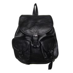 €19,45 URBAN LOOP | Zaino in   ecopelle uomo e donna nero con tasche frontali | Faux Leather Backpack