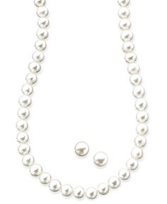 Sterling Silver Necklace and Earrings Set, Cultured Freshwater Pearl