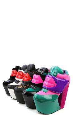 Kiss Me Lips Platform Wedge Sneakers