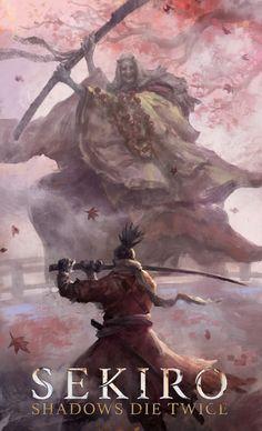 Created by Zhuoxin Ye Arte Ninja, Ninja Art, Witcher Wallpaper, Arte Dark Souls, Character Art, Character Design, Samurai Artwork, Japanese Warrior, Art Watercolor