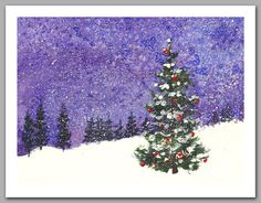Set of 12 Christmas Trees in the Snow Watercolor by tornpaperco