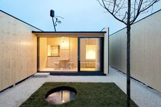 """The German architecture firm, Atelier Kaiser Shen, were responsible for creating this truly tiny home and its courtyard. The project was completed in 2018 and has been titled """"Micro Courtyard House"""". The tiny house is located on a traffic island, placed between four stoplights, in the city of Ludwigsburg in Germany."""