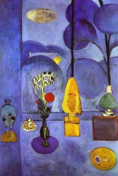 Henri Matisse >> La Ventana Azul | (oleo, obra de arte, reproducción, copia, pintura).