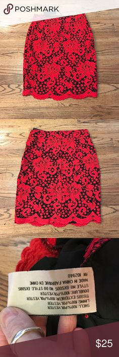 "Evette & K Black/Red Lace skirt Evette & K Pencil skirt. Black w/ Red lace overlay. Side zipper. Side S. Measures: Waist 14"", Length 21"". BNWT. Evette & K Skirts Pencil"