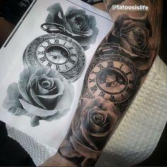 Pin by tatiana garcia on tattoo forearm tattoos, tattoo designs, sleeve tat Watch Tattoos, Time Tattoos, Body Art Tattoos, New Tattoos, Hand Tattoos, Tattoos For Guys, Clock Tattoos, Clock And Rose Tattoo, Clock Tattoo Design