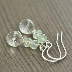Mint chalcedony and Green Amethyst Gemstone wire wrapped earrings