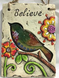 Joyful Bird Believe Plaque Sign With Flowers