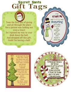 Secret Santa Gift Tag Poem -PDF File What a great way to keep your identity secret during your annual Secret Santa Gift Exchange this year--- you can buy these tags, complete with poems Secret Santa Note, Secret Santa Poems, Secret Santa Gift Exchange, Secret Santa Gifts, Secret Santa Gift Tags Printable, Secret Santa Rules, Secret Santa Ideas Funny, Secret Santa Christmas Gifts, Printable Tags