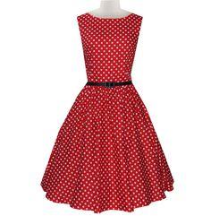 Red Polka Dot Belted Vintage Dress