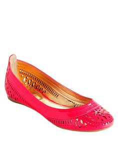 Belle By Sigerson Morrison Andromeda Leather Ballet Flats Coral Patent