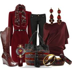 """""""Burgandy Boots and Big Buddha Bag"""" by featherlynne on Polyvore"""