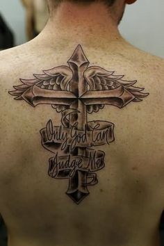 Wings Cross Tattoo With Banner