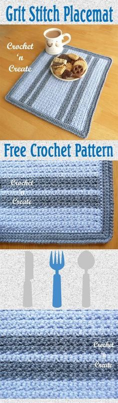 Free crochet pattern for grit stitch placemat, make in colors to match your decor. #crochet