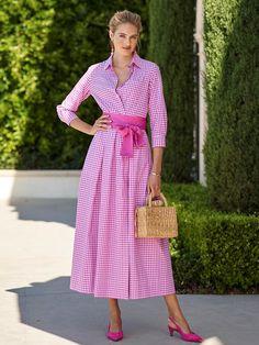 Dress Skirt, Wrap Dress, Shirt Dress, Pretty Dresses, Beautiful Dresses, Pink Check Shirt, Modest Fashion, Fashion Outfits, Women Church Suits