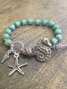 Sea Horse & Starfish Knotted Leather Wrap Bracelet, Beach Chic