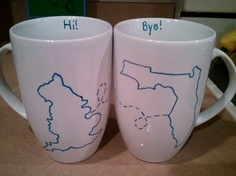 DIY Near and Far Mugs... perfect for long distance friends!