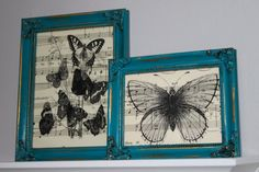i love the butterflies and the sheet music, but most of all i love the frames. not usually a lover of gold tones but i love the gold behind the turquoise here.