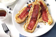 Turkey Bacon Pancakes | #JennieO | SwitchToTurkey | turkeybacon | breakfast  | pancakes |  http://www.jennieo.com/recipes/841-Turkey-Bacon-Pancakes