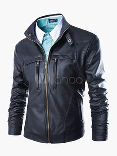 Black Leather Jacket Metallic Buckle Zipper Plus Size Men PU Biker Jacket 9cb8922ed09