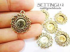 10 pcs Antique Gold Small Lacey Setting Bezel 8mm by EarthlyJewels, $4.90