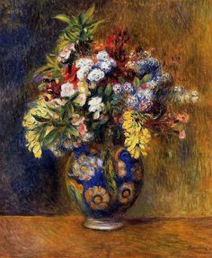 Artist: Pierre-Auguste Renoir French Impressionist Master  Title: Flowers in a Vase Completion Date: 1878 Style: Impressionism  Period: Association with Impressionists  Genre: flower painting  Technique: oil  Material: canvas  Gallery: Private Collection