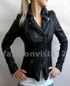 Style Croped Motorcycle Black Custom Made New Designer Leather Jackets for Women | eBay