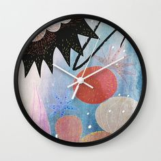 Blue dream wall clock children room wall clock baby by forkidsfun