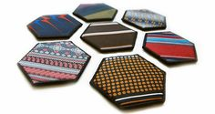 Old ties recycled into coasters.