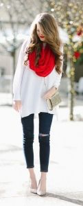 winter fashion red scarf