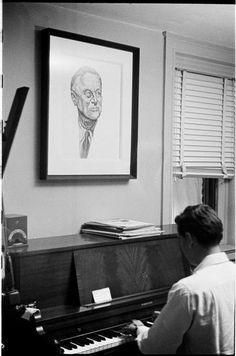 Leonard Bernstein [Leonard Bernstein playing a piano.]