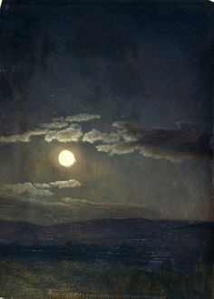 """albert bierstadt - cloudy study, moonlight, 1860 ~ """"He who has perfected, well developed and practiced in due order mindfulness of breathing, as taught by the Buddha, illuminates this world like the moon released from a cloud."""" The Elder's Verses: Theragatha and Therigatha, verses 548-9 ~ K>R> Norman (trans.) ~~~~~"""