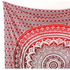 Large Cotton Ombre Mandala Fabric Boho Tapestry Wall Hanging Hippie... ($17) ❤ liked on Polyvore featuring home, bed & bath, bedding, tapestry bedding, fabric bedding, ombre bedding, cotton bed linen and dip dye bedding