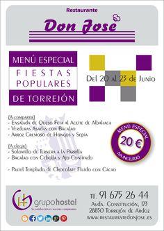 Muy pronto Torrejón estará en fiestas y hemos preparado un menú muy especial para la ocasión. ¡¡Ven a probarlo!!