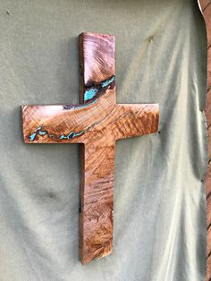 "Maple Burl Cross with Turquoise Inlay 28"" high x 17"" wide Large by BlackFacedSheep on Etsy"