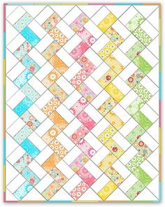 """Inspiration ::  A quilt pattern that's perfect to  adapt to crochet.  Variegated yarn for the """"color"""" rows would be interesting.     #afghan #blanket #throw"""