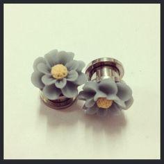 10mm 0g Blue Flower Ear Plugs by TeacupRose on Etsy, $18.00