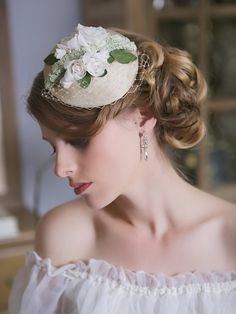 Ivory Ecru Green Bridal Head piece Ivory Rose by GildedShadows, $110.00