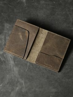 """""""Magellan"""" Brown Oil Tan Leather Double Passport Wallet - Made in Sydney"""
