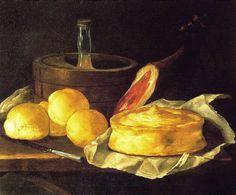 """GIUSEPPE RECCO ( Napoli 1634 - Alicante 1695 ). PANI, PROSCIUTTO, CASATIELLO E GHIACCIAIA. olio su tela. 65 × 80 cm. Signed """" G.R. """" sul bordo del tavolo a sinistra. Collezione Molinari - Pradelli."""