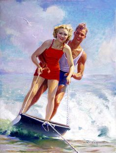 """See our web site for more info on """"Water Skiing"""". It is actually an outstanding area to learn more. Boat Hoist, Painting Prints, Canvas Prints, Water In The Morning, Lake Art, Vintage Boats, Vintage Florida, American Sports, Horse Trailers"""