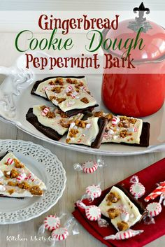 Gingerbread Cookie Dough Peppermint Bark - this isn't your moms' traditional bark!  Jazz up your holiday treat table this year by adding eggless cookie dough - soooo good!