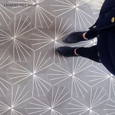 gray hex tile/gray and white tile/Cement Tile Shop - Encaustic Cement Tile Starburst Hex Natural Gray