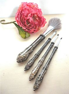 Vanity Makeup Brush Set, Silver Plate