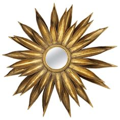 Huge French Floral Convex Sunburst Mirror of Gilt Metal from the 1950s   From a unique collection of antique and modern convex mirrors at http://www.1stdibs.com/furniture/mirrors/convex-mirrors/