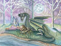 Guardian - Little Fairy and Dragon Fantasy Fine Art Giclee Print by Molly Harrison Fantasy Art - 9 x 12 by MollyHarrisonArt on Etsy https://www.etsy.com/listing/89530872/guardian-little-fairy-and-dragon-fantasy