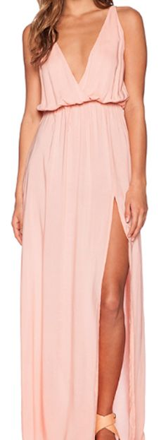 pretty pale pink high slit maxi dress