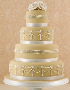 Elegant Golden Pearl Wedding Cake Picture