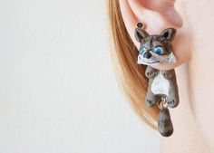 Putzige Ohrringe mit Waschbären, zweiteilig / cute racoon earrings made by JewelryandPleasure via DaWanda.com
