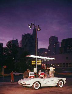 Model in a Corvette    shaw 1960