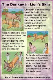 Moral Stories: The Donkey in Lion's Skin. - Fit-O-Matic Stories With Moral Lessons, English Moral Stories, Short Moral Stories, English Stories For Kids, Moral Stories For Kids, Short Stories For Kids, English Story, Kids English, Kids Story Books